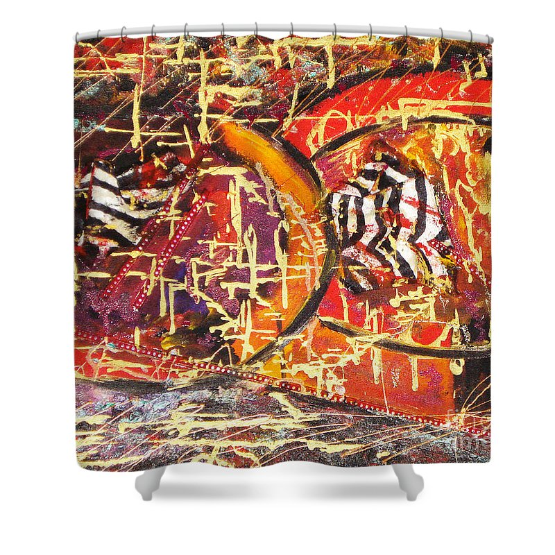 Acrylic Abstract Shower Curtain featuring the painting Joy Of Life by Yael VanGruber
