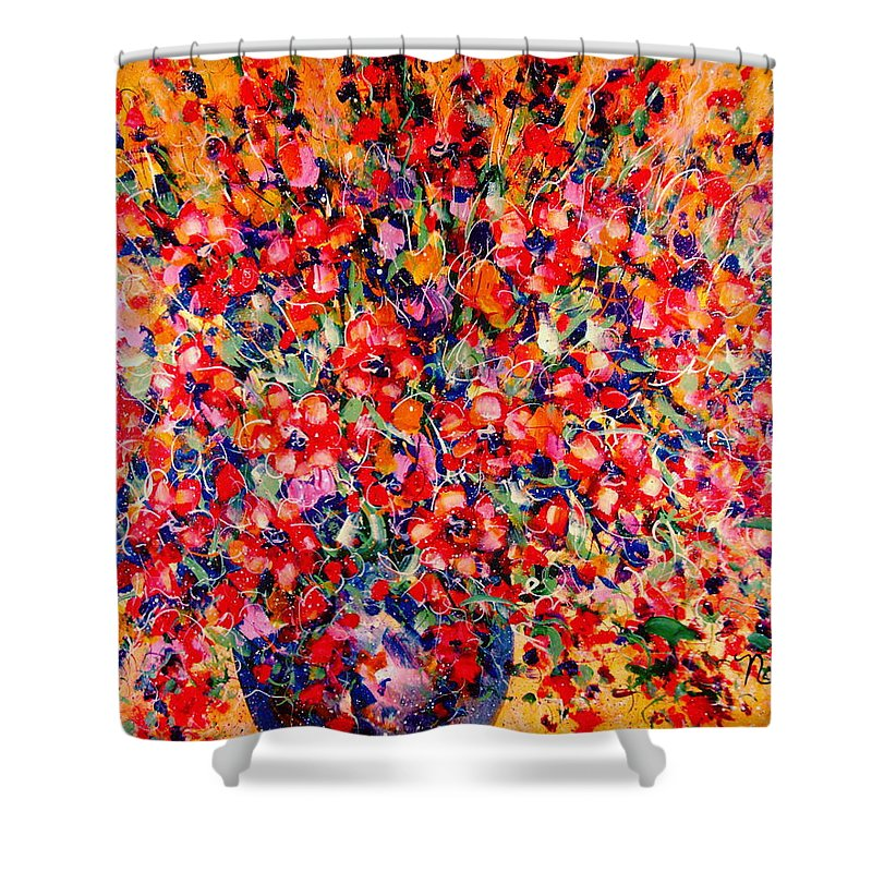 Flowers Shower Curtain featuring the painting Joy Of Summer by Natalie Holland