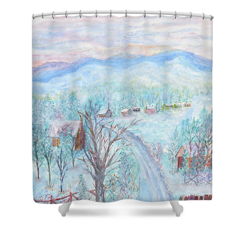 Winter Shower Curtain featuring the painting Joy of Winter by Ben Kiger