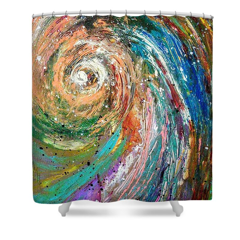 Spinning Colors Shower Curtain featuring the painting Joy by Valerie Josi