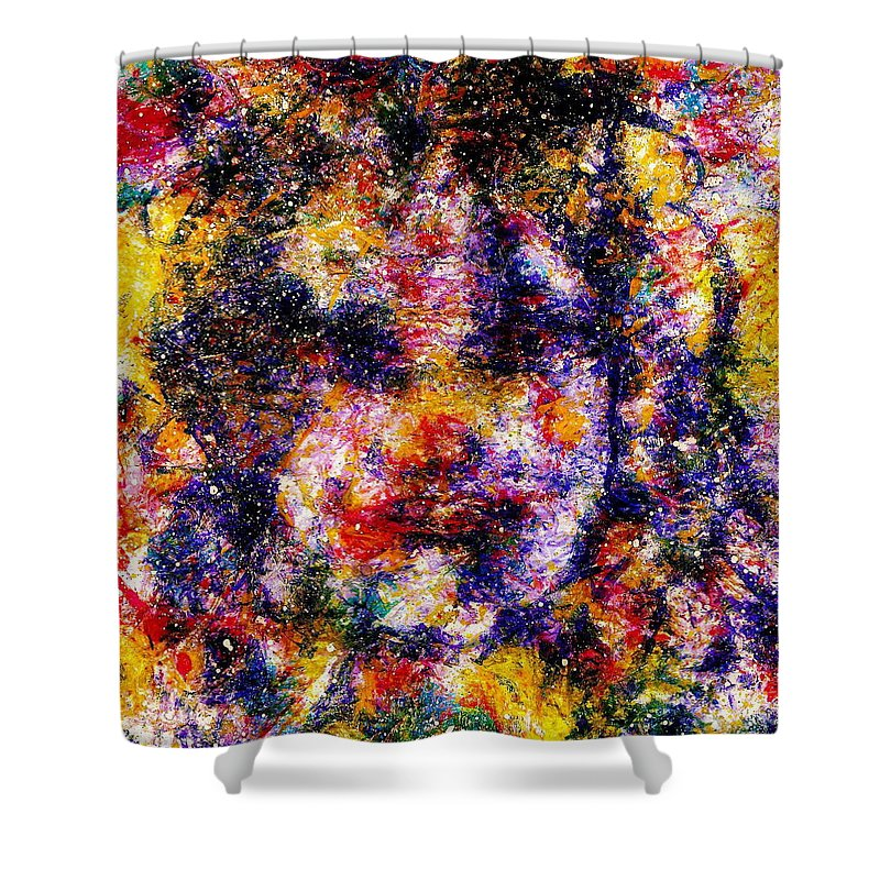 Expressionism Shower Curtain featuring the painting Joyful Clown by Natalie Holland