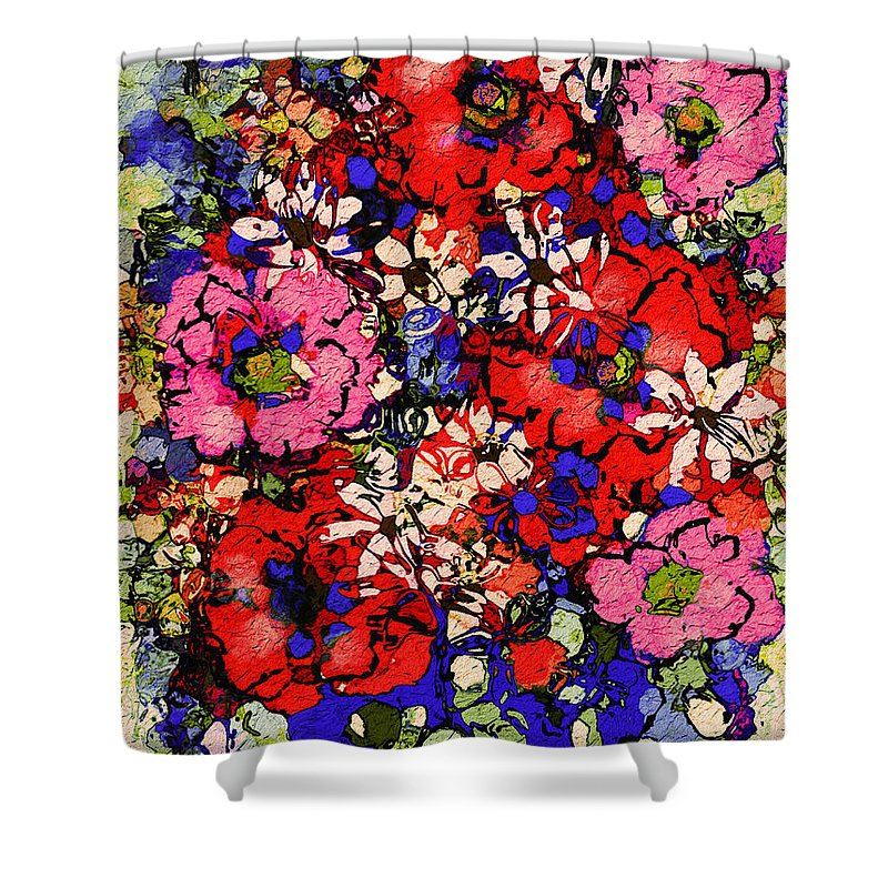 Floral Abstract Shower Curtain featuring the painting Joyful Flowers by Natalie Holland