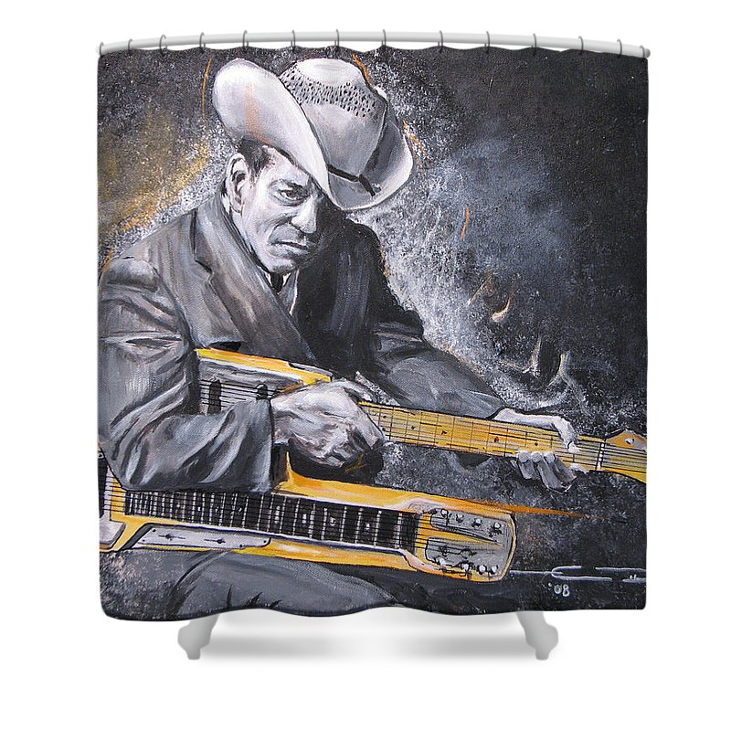 Jr. Brown Shower Curtain featuring the painting Jr. Brown by Eric Dee