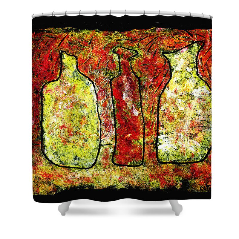Jugs Shower Curtain featuring the painting Jugs by Wayne Potrafka