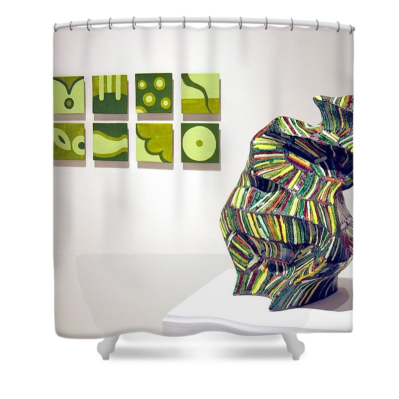 Mural Shower Curtain featuring the sculpture Juice -left And June -right by Jason Messinger