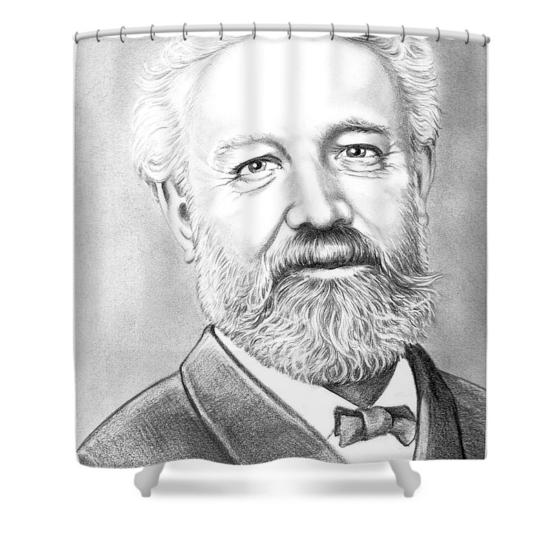 Jules Verne Shower Curtain featuring the drawing Jules Verne by Murphy Elliott