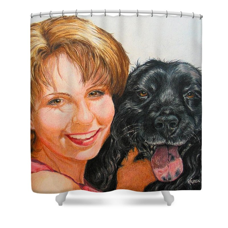 Girls Shower Curtain featuring the drawing Juli And Sam by Karen Ilari