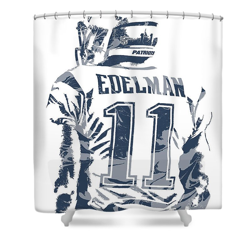Julian Edelman Shower Curtain Featuring The Mixed Media New England Patriots Pixel Art 10