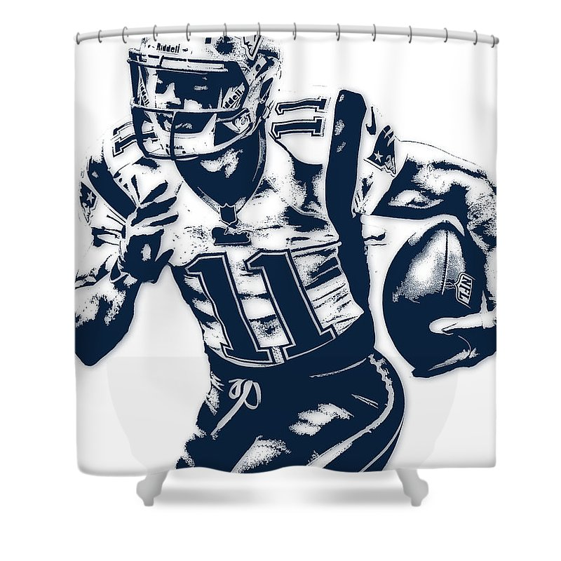 Julian Edelman Shower Curtain Featuring The Mixed Media New England Patriots Pixel Art 2
