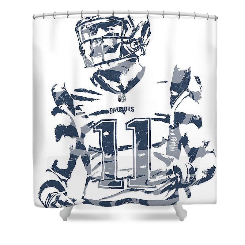 Julian Edelman Shower Curtain Featuring The Mixed Media New England Patriots Pixel Art 20