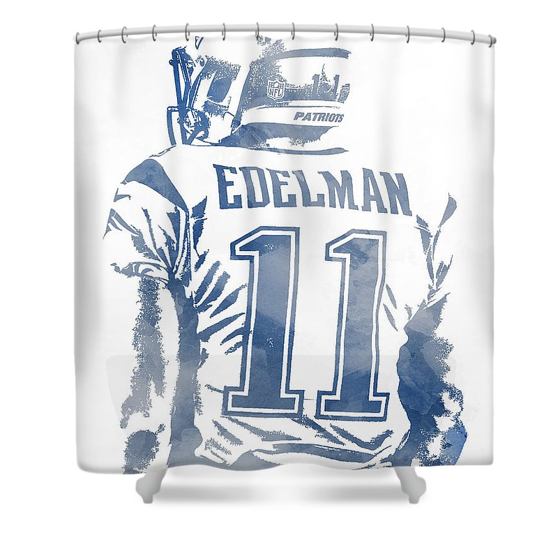 Julian Edelman Shower Curtain Featuring The Mixed Media New England Patriots Water Color Pixel