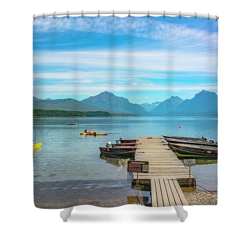 Montana Shower Curtain featuring the photograph July 4th on Lake McDonald by Bryan Spellman