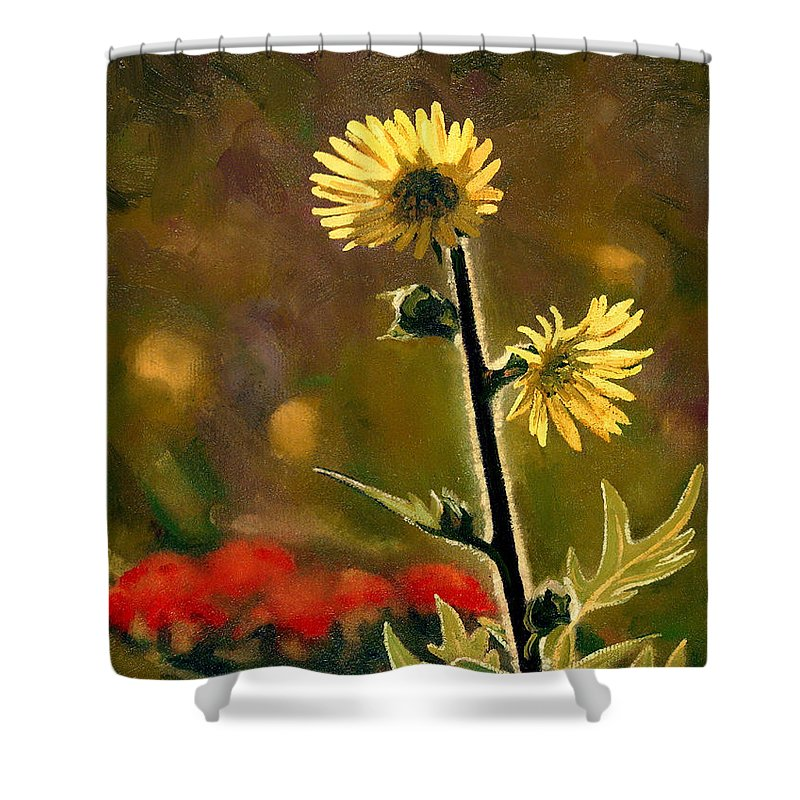 Prairie Flowers Shower Curtain featuring the painting July Afternoon-compass Plant by Bruce Morrison