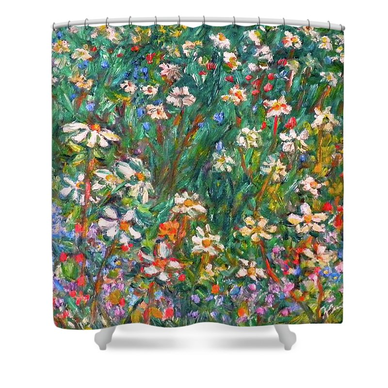 Kendall Kessler Shower Curtain featuring the painting Jumbled Up Wildflowers by Kendall Kessler