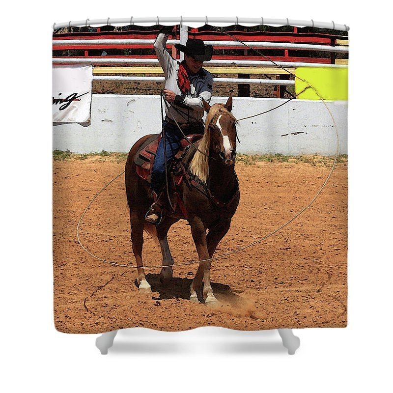 Western Entertainers Shower Curtain featuring the photograph Jump Now by Kim Henderson