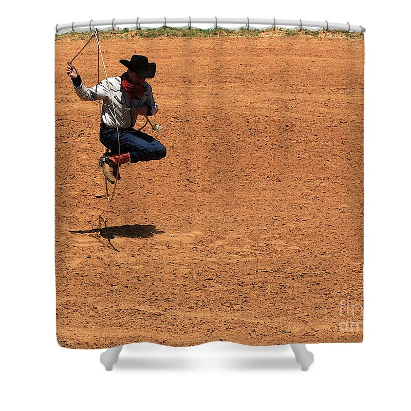 Western Art Shower Curtain featuring the photograph Jump Rope Cowboy Style by Kim Henderson