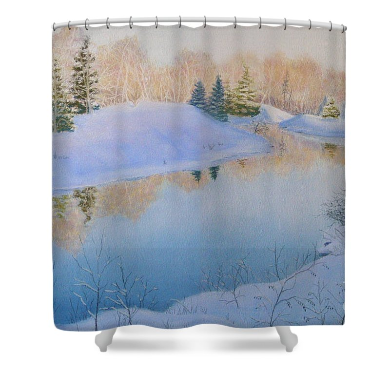 Landscape Shower Curtain featuring the painting Junction Creek by Lynn Quinn