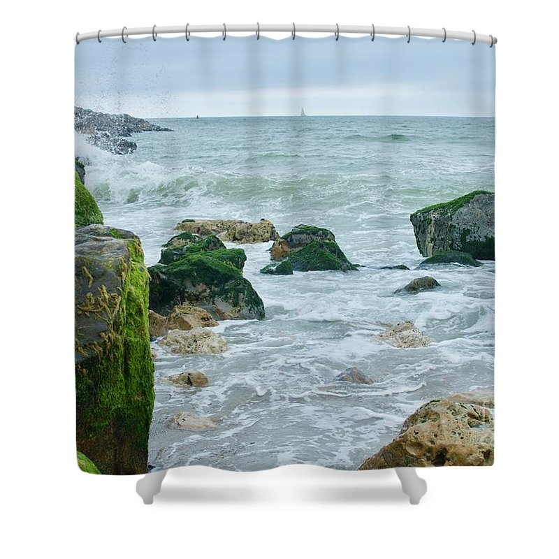 Road Trip Shower Curtain featuring the photograph June Gloom Beauty by Collective Seventy