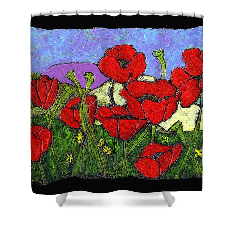 Poppies Shower Curtain featuring the painting June Poppies by Wayne Potrafka