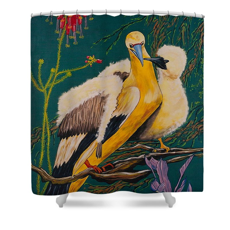 Birds Shower Curtain featuring the painting Jungle Baby by V Boge