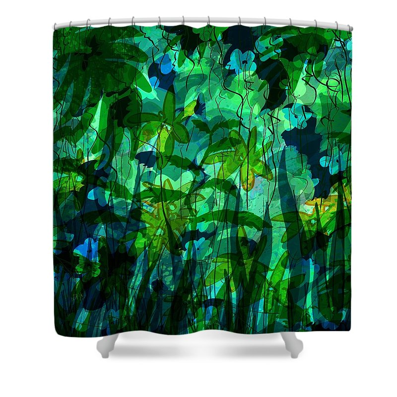 Abstract Shower Curtain featuring the digital art Jungle Colors by Rachel Christine Nowicki