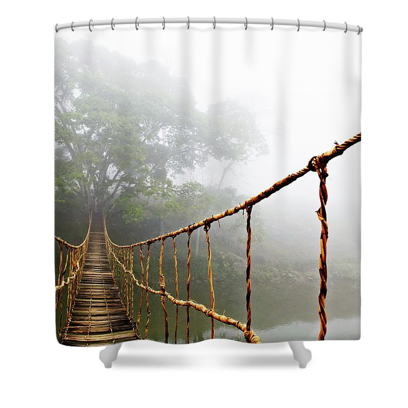 Rope Bridge Shower Curtain featuring the photograph Jungle Journey by Skip Nall