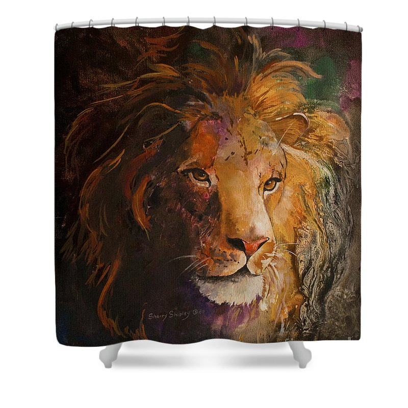 Lion Shower Curtain featuring the painting Jungle Lion by Sherry Shipley