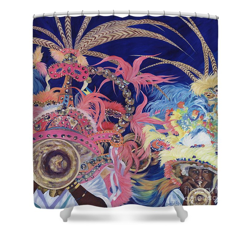 Bahamas Shower Curtain featuring the painting Junkanoo by Danielle Perry