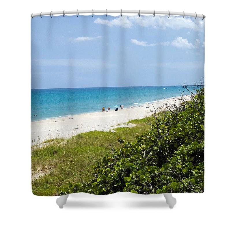 Juno; Florida; Loxahatchee; River; Jupiter; Inlet; Swim; Swimming; Children; Girl; Boy; Woman; Man; Shower Curtain featuring the photograph Juno Beach On The East Coast Of Florida by Allan Hughes