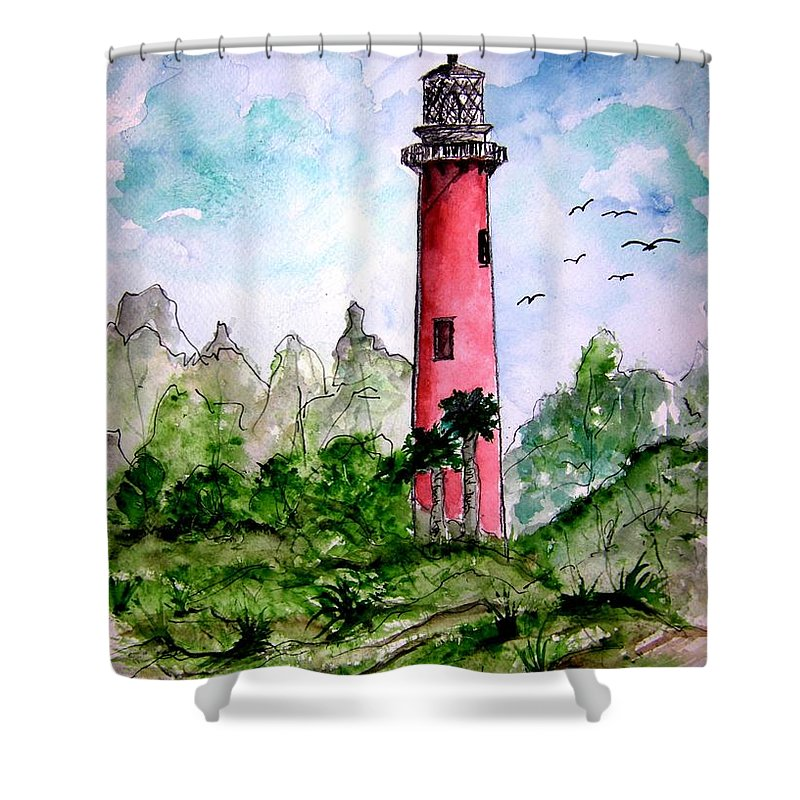 Lighthouse Shower Curtain featuring the painting Jupiter Florida Lighthouse by Derek Mccrea