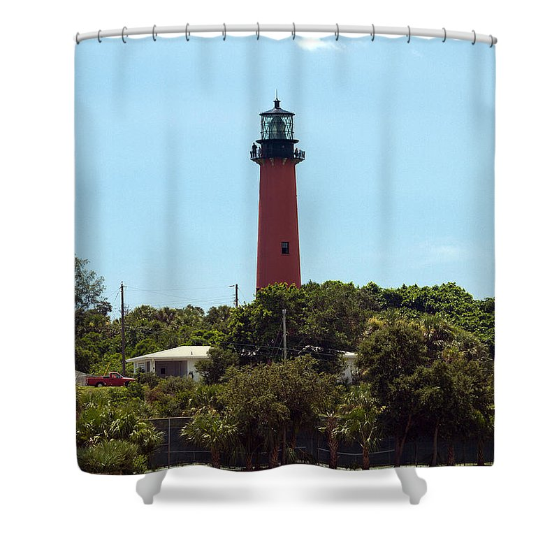 Florida; Juptier; Inlet; Loxahatchee; River; Atlantic; Coast; Shore; Beach; Light; Lighthouse; Beaco Shower Curtain featuring the photograph Jupiter Inlet Light by Allan Hughes