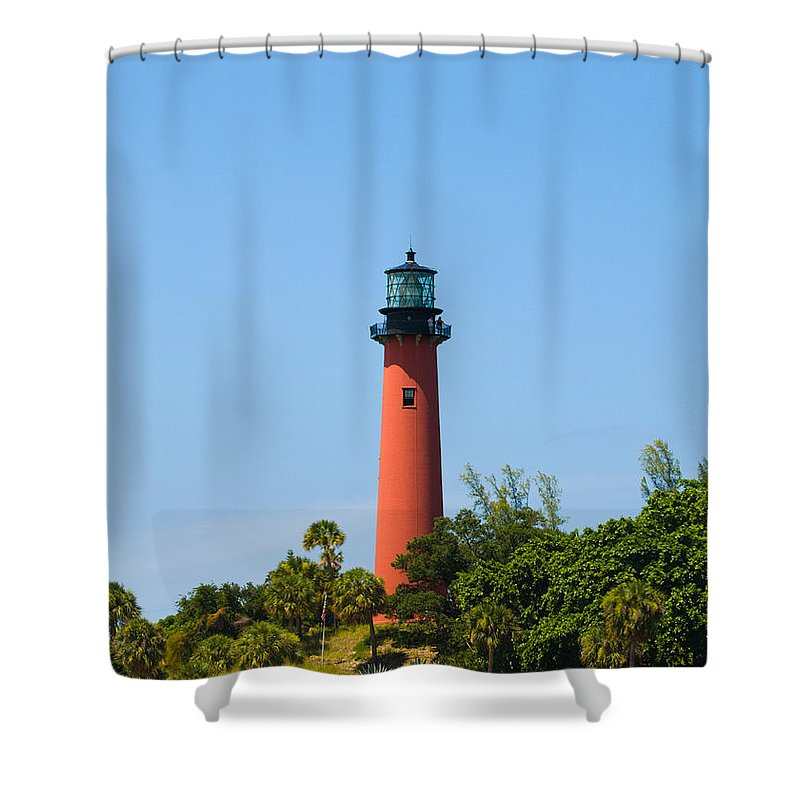 Florida; Juptier; Inlet; Loxahatchee; River; Atlantic; Coast; Shore; Beach; Light; Lighthouse; Beaco Shower Curtain featuring the photograph Jupiter Light In Florida by Allan Hughes