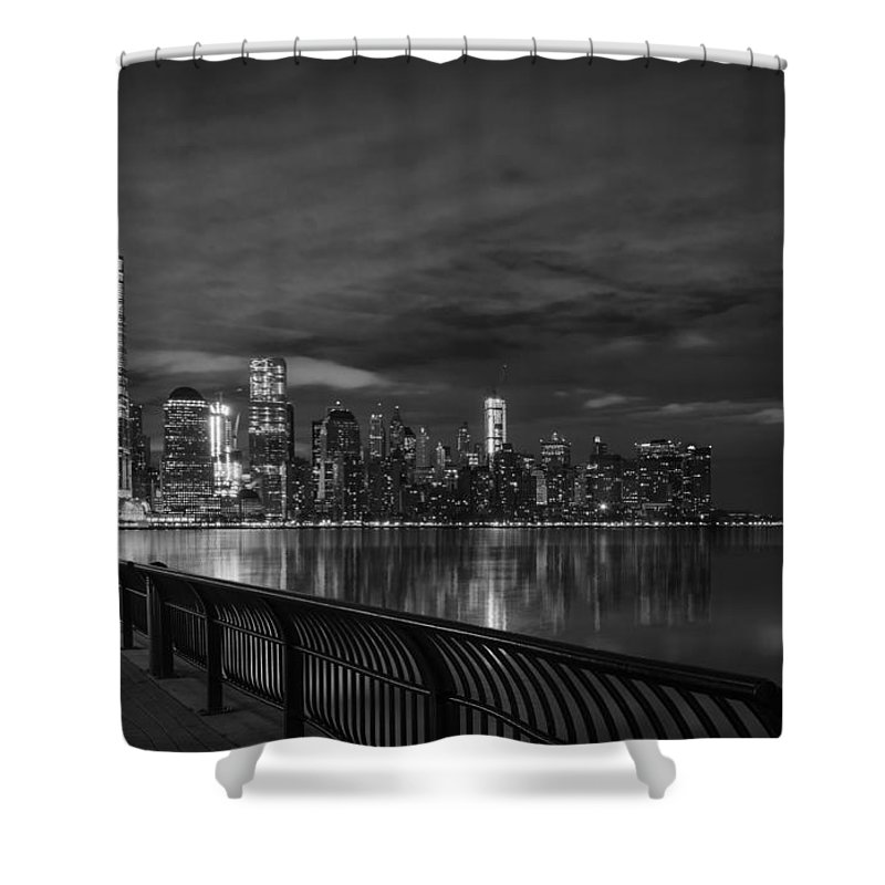 Urban Shower Curtain featuring the photograph Just Across The River In Bandw by Kim and Joe Brownfield