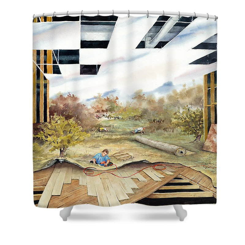 Landscape Shower Curtain featuring the painting Just Another Unfinished Landscape Painting by Sam Sidders