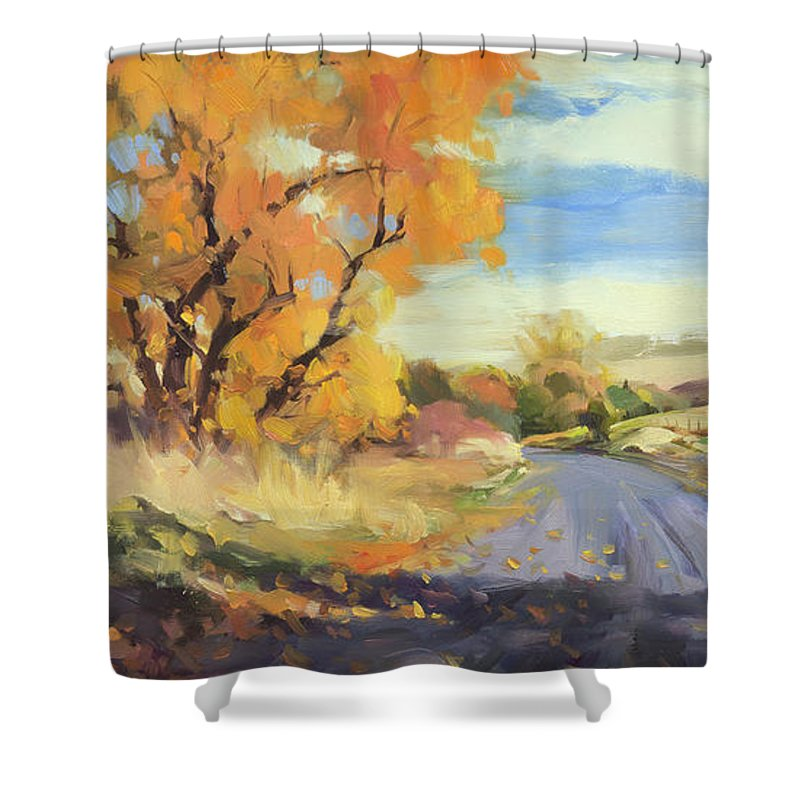 Country Shower Curtain featuring the painting Just Around the Corner by Steve Henderson