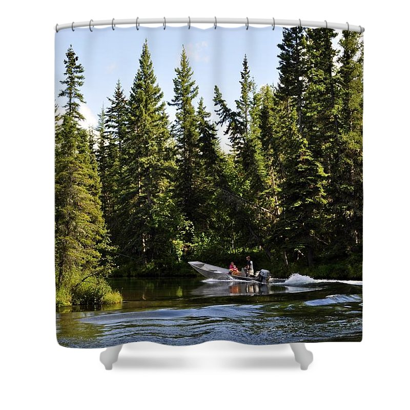Boat Shower Curtain featuring the photograph Just Around The River Bend by Cathy Mahnke
