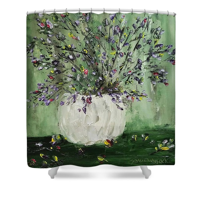 Oil Painting Shower Curtain featuring the painting Just Beginning To Bloom by Sallie Wysocki