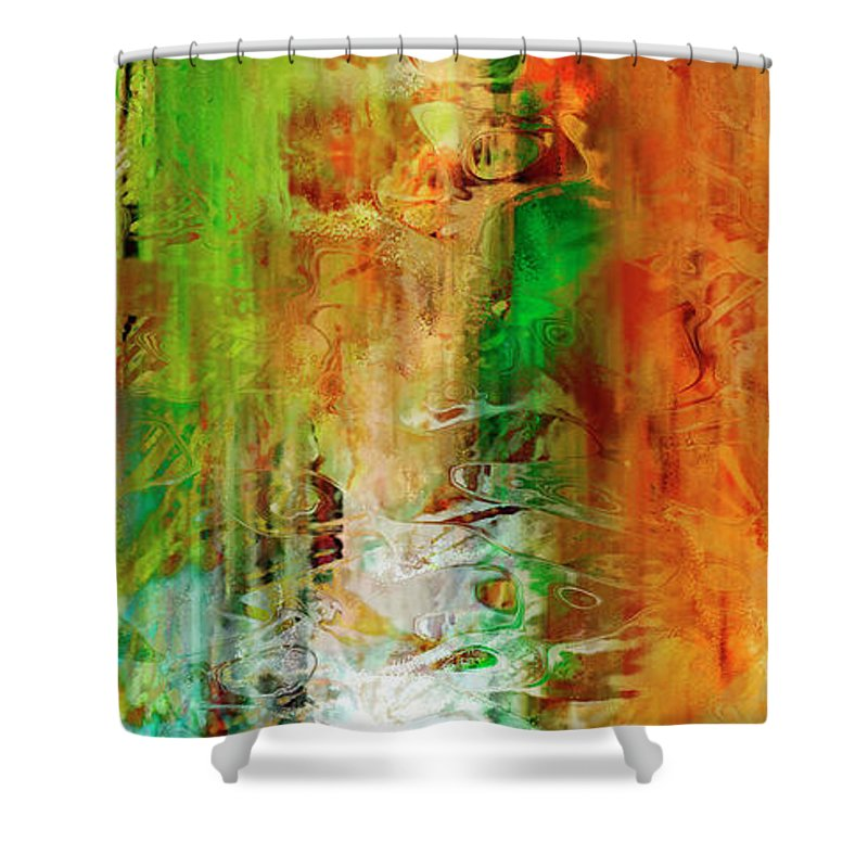 Large Abstract Shower Curtain featuring the painting Just Being - Abstract Art by Jaison Cianelli