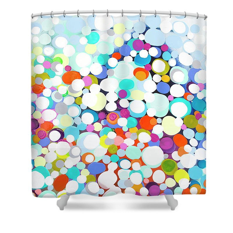 Abstract Shower Curtain featuring the painting Just For Fun by Claire Desjardins
