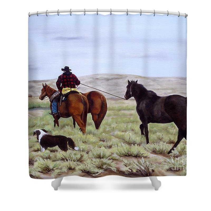 Art Shower Curtain featuring the painting Just Might Rain by Mary Rogers