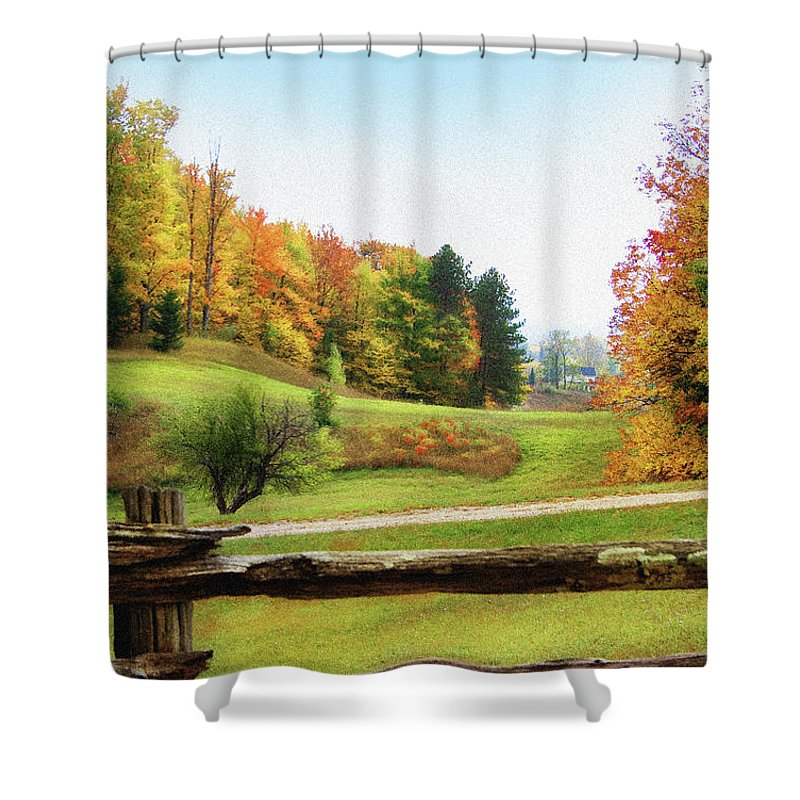 Digital Shower Curtain featuring the photograph Just Over The Next Ridge by Ann Lauwers