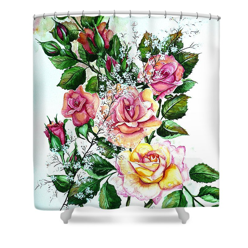Floral Paintings Pink Paintings  Rose Paintings  Flower Paintings Botanical Paintings Greeting Card Paintings Canvas Prints Paintings Poster Prints Paintings Babies Breath Painting  Shower Curtain featuring the painting Just Roses by Karin Dawn Kelshall- Best