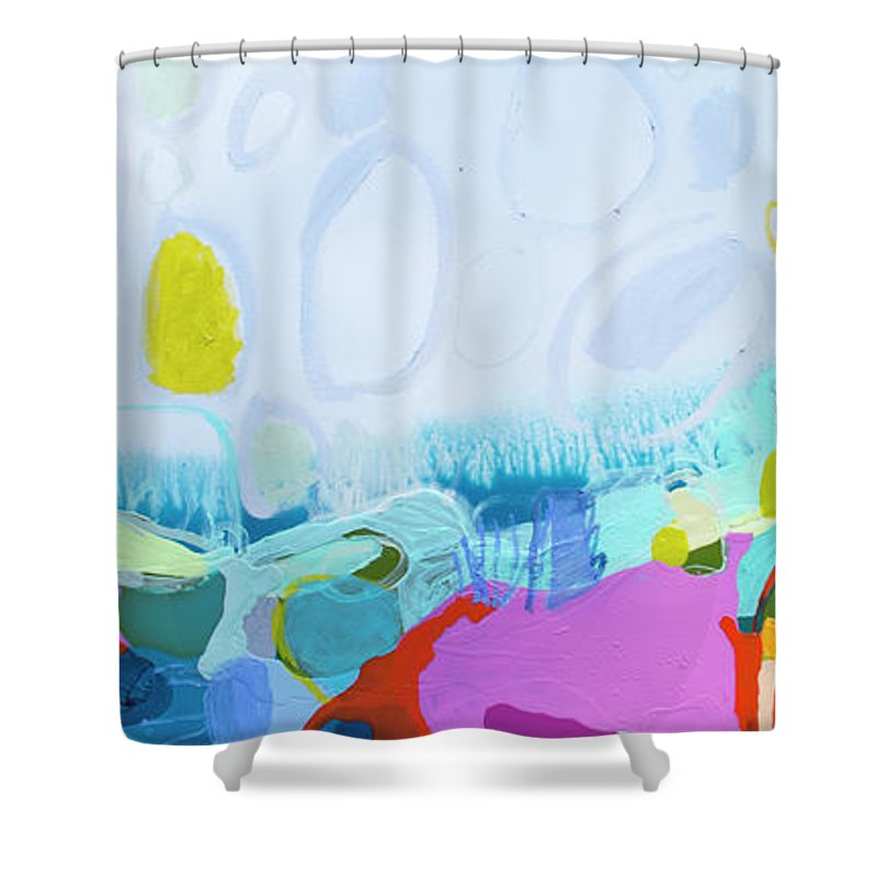 Abstract Shower Curtain featuring the painting Just Sing by Claire Desjardins
