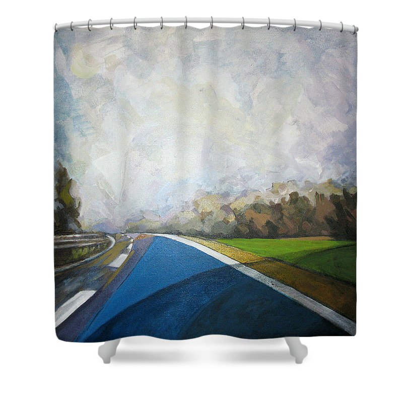 Landscape Shower Curtain featuring the painting Just That by Mima Stajkovic