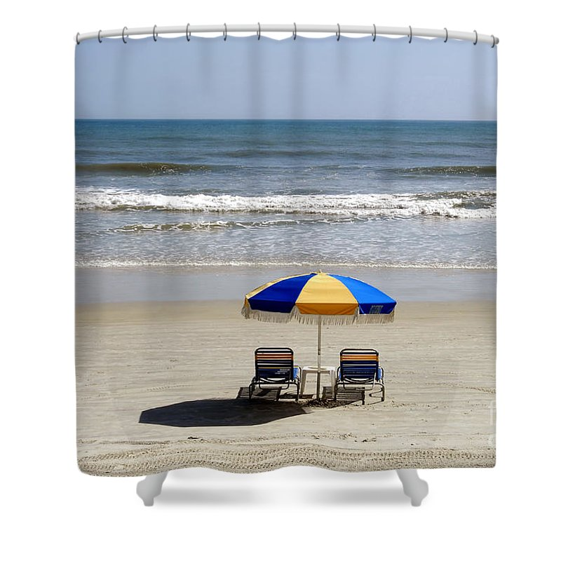 Beach Shower Curtain featuring the photograph Just The Two Of Us by David Lee Thompson