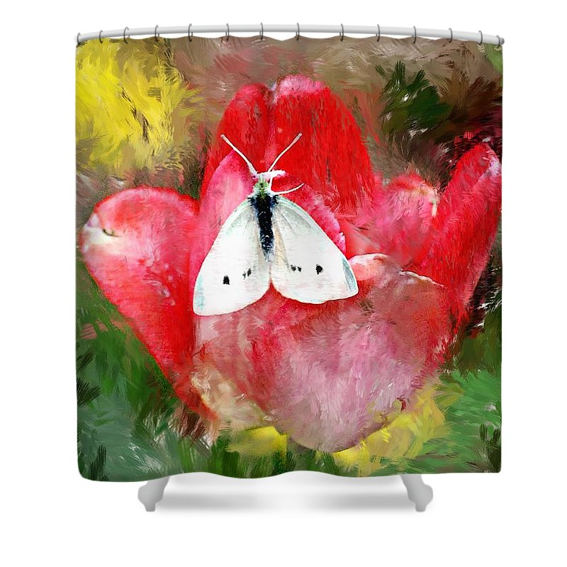 Digital Photo Shower Curtain featuring the photograph Just Visiting by David Lane