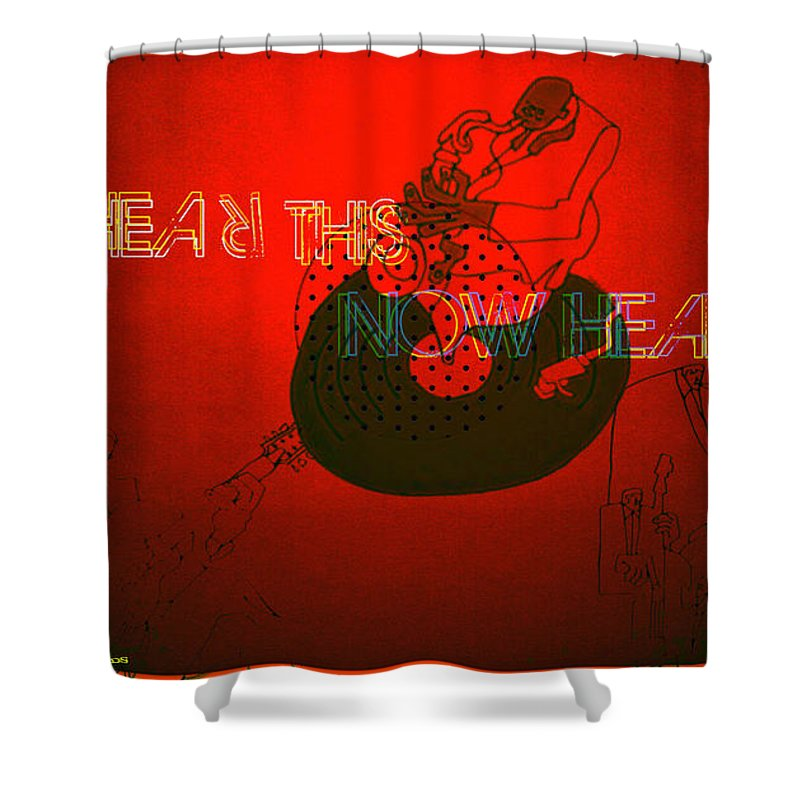Justice For Jazz Artists Shower Curtain featuring the digital art Justice For Jazz Artists by Tony Adamo