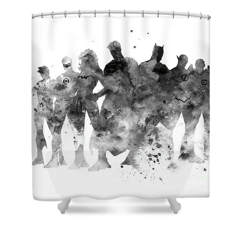 Justice League Shower Curtain Featuring The Mixed Media By Monn Print