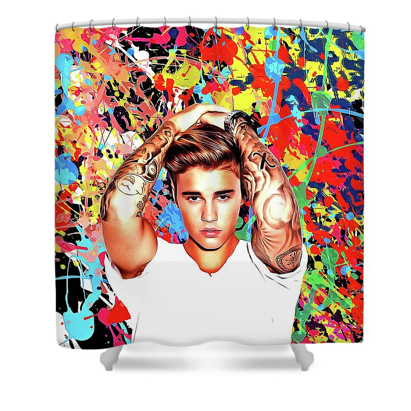 Justin Bieber Shower Curtain Featuring The Painting