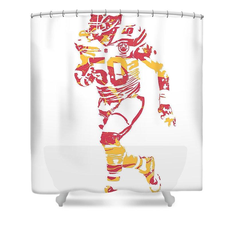 Justin Houston Shower Curtain Featuring The Mixed Media Kansas City Chiefs Pixel Art 6